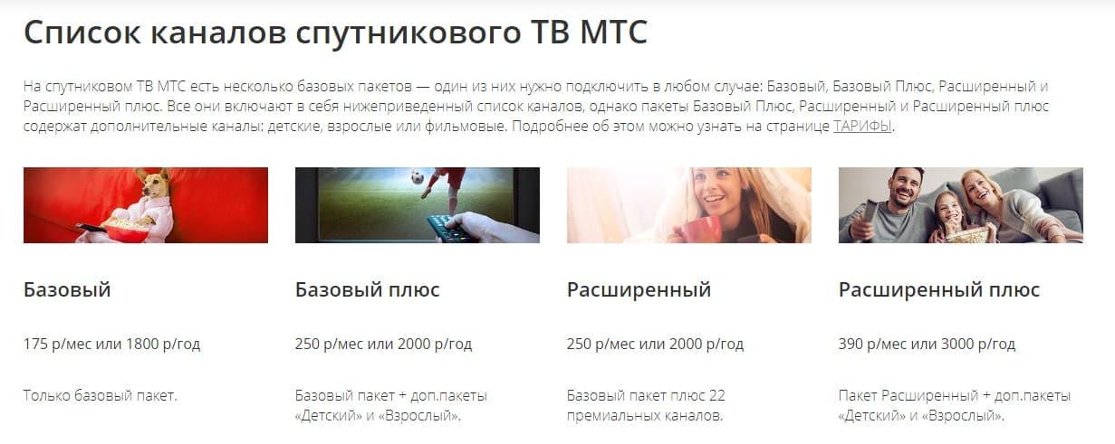 Paquetes y canales de MTS TV - datos actuales para 2021